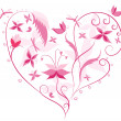 Floral Love Shape. Heart of flowers, butterflies and dragonflies - Stock Photo