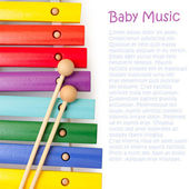 Wooden rainbow colors xylophone for development of babies musica — Stock Photo