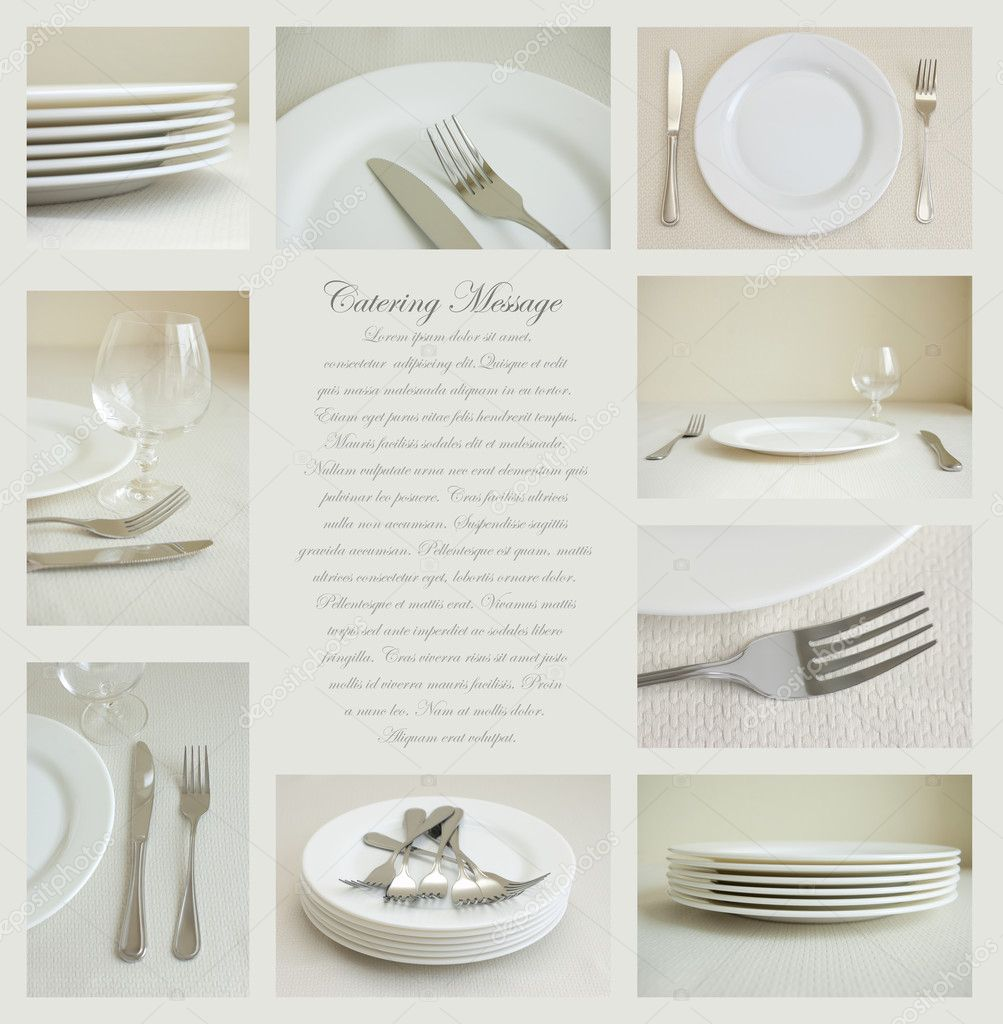 Collage of nine images of tableware with white dishes and silverware — Stock Photo #9509765