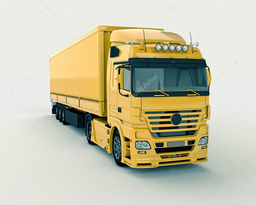 Truck on a light background, with shadows  Stock Photo #10578472