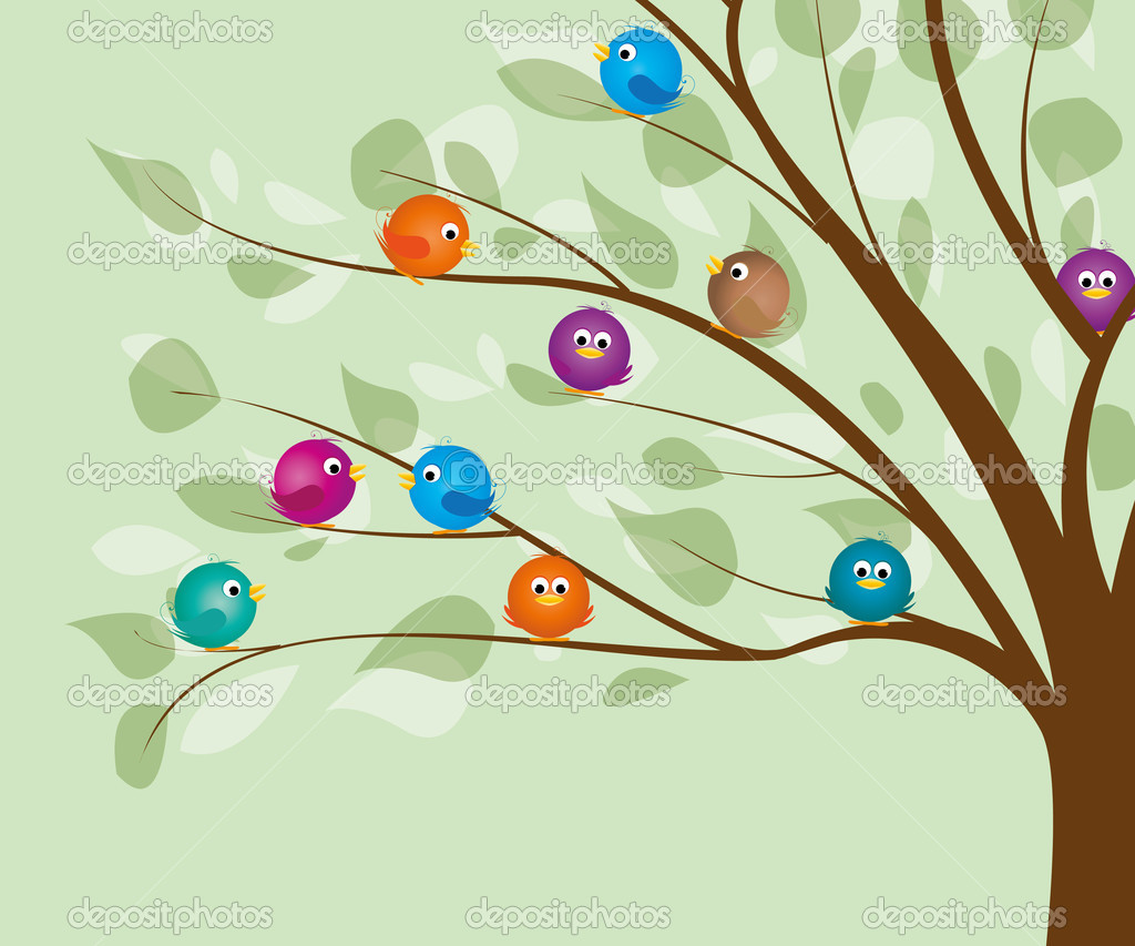 Colorful birds in a tree — Stock Vector #10274990