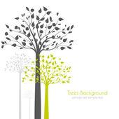 деревья с листьями — Cтоковый вектор