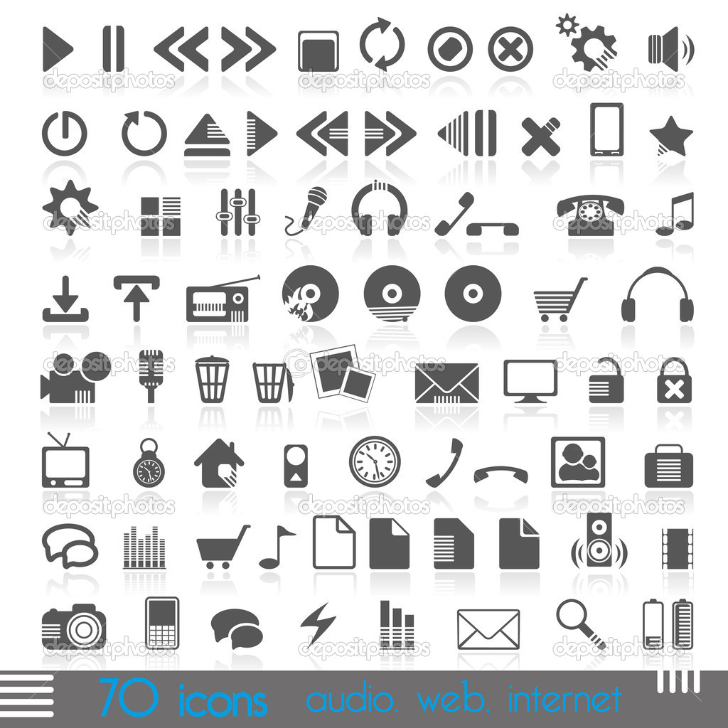 Icons for web, audio, Internet — Stock Vector #8729206