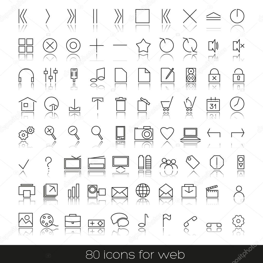 Set of icons for your web, audio, Internet — Stock Vector #9673810