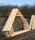 Timber Roof Trusses. — Stock Photo