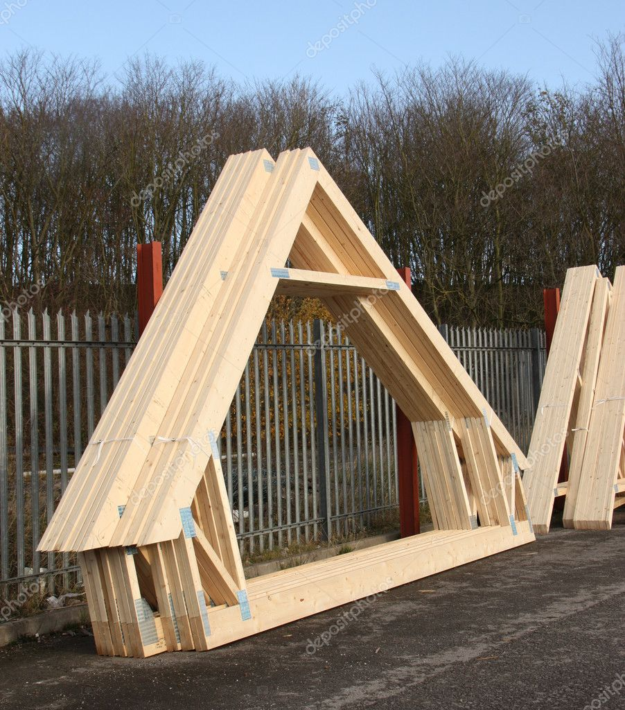 Timber roof trusses stock photo 9588553 for Roof trusses prices