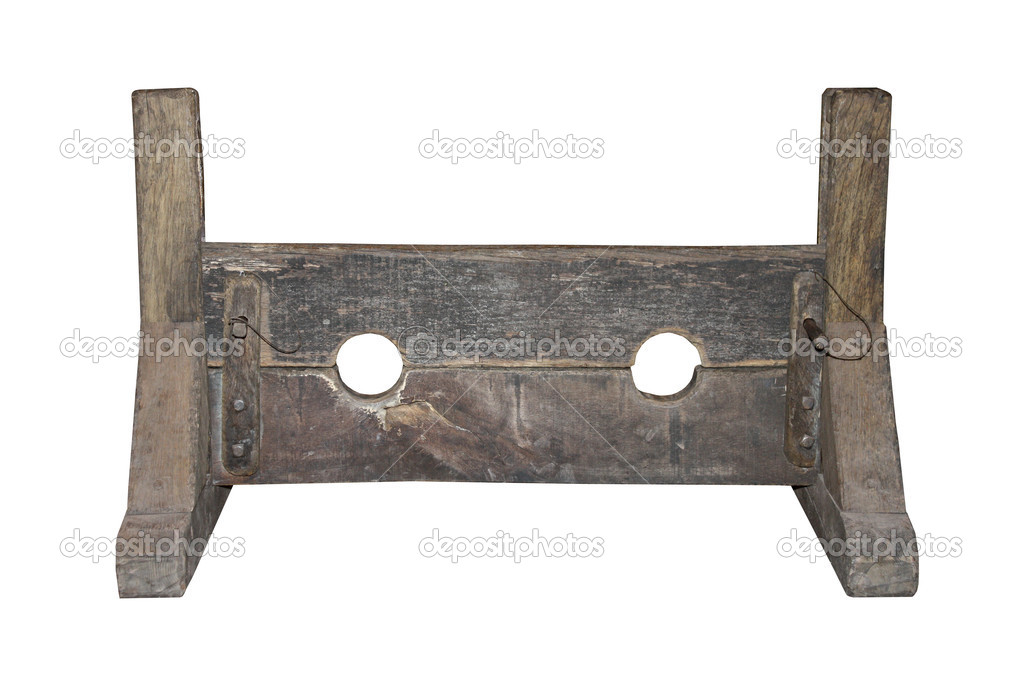 A Wooden Set of Medieval Punishment Stocks.  Stock Photo #9844459