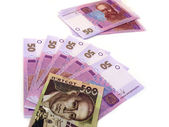 Ukrainian money, grivnas on white — Stock Photo