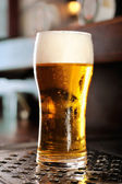 Glass of beer close-up with froth — Stock Photo