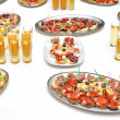 Stock Photo: Table with food and drink