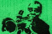 Trumpeter graffiti — Stock Photo