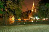 Bruges, belçika beguinage gece — Stok fotoğraf