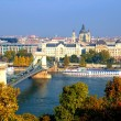 Stock Photo: Budapest, hungary with view of chain bridge