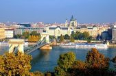 Budapest, hungary with view of chain bridge — Stock Photo