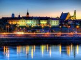 Warsaw royal castle at night — Stock Photo