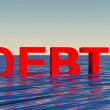 Stock Photo: Sinking in debt concept