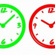 Stock Photo: Neon clocks