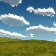 Stock Photo: Grass and clouds landscape