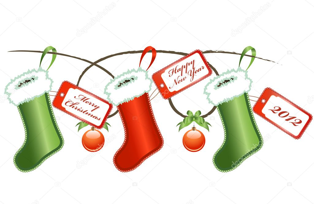 Vector of Christmas socks with labels  Stock Vector #8018961