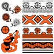 Ornaments of Ancient America on white — Stock Vector