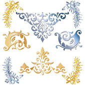 Gold and blue medieval ornaments — Stock Vector