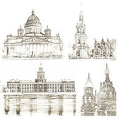 Collage of architectural symbols of St. Petersburg — Stock Photo