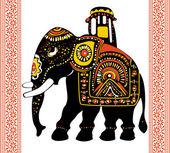 Festive indian elephant — Stock Vector