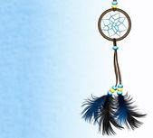 Dreamcatcher auf blauem hintergrund — Stockfoto