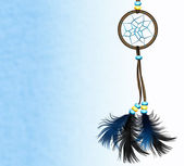 Dreamcatcher on blue background — Stock Photo
