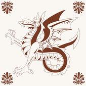 Vintage medieval dragon (Wyvern) — Stock Vector