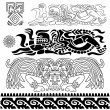 Ancient patterns with mayan gods - Stock Vector