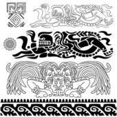 Ancient patterns with mayan gods — Stock Vector