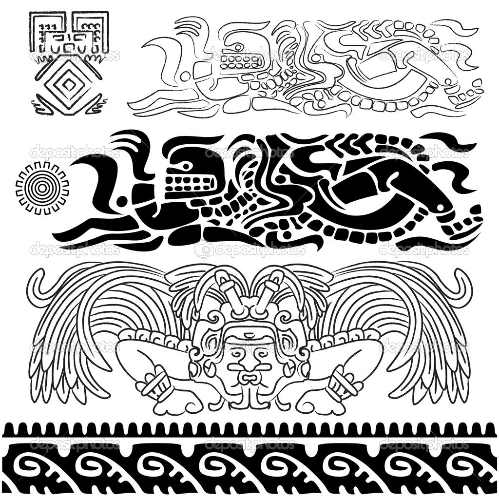 Vector of ancient patterns with mayan gods and ornaments — Stock Vector #9667781