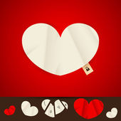 Paper heart, valentine background design — Stock Vector
