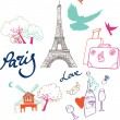 Vector set of the most romantic city in the world - Paris. - Stock Vector