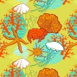 Underwater world through the eyes of the diver. Seamless pattern — Stock Vector