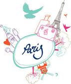 A romantic trip to Paris. A symbol of Paris: Eiffel Tower, the Moulin Rouge. Tourism — Stock Vector