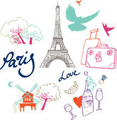 Vector set of the most romantic city in the world - Paris. — Stock Vector