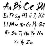 Het alfabet in kalligrafie borstel — Stockvector