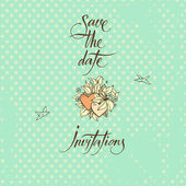 Save the Date and Invitation. Calligraphy and symbols of love — Stock Vector