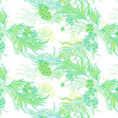 Delicate spring floral motif in the turquoise-lime colors. Seamless pattern. — Vecteur