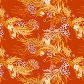Orange floral motif. Seamless pattern. — Stock Vector