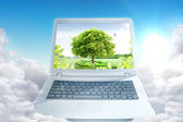 Notebook and landscape. ecological concept — Stock Photo