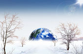 Planet winter. ecological concept — Stock Photo