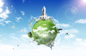 Planet in the sky. business concept — Stock Photo