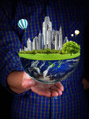 Planet in hands. ecology concept — Stock Photo