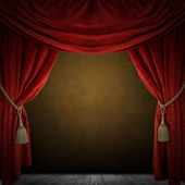 Red curtain room. illustration — Stock Photo