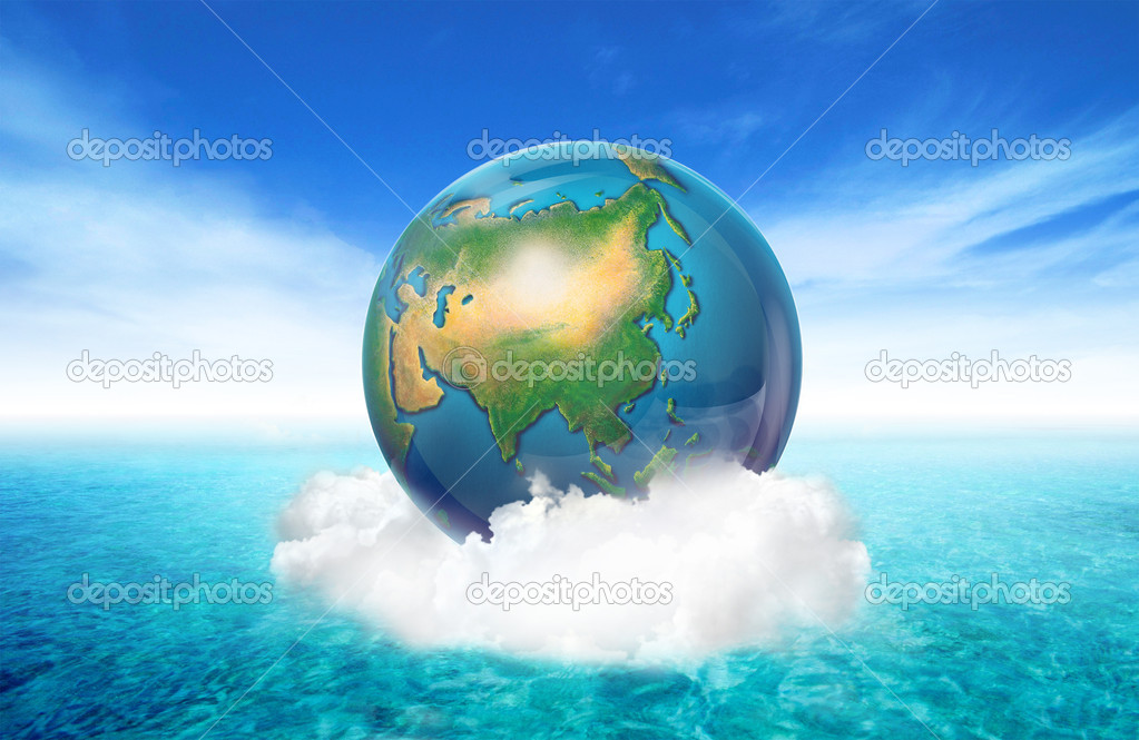 Planet in the sky. ecology concept — Stock Photo #8757720