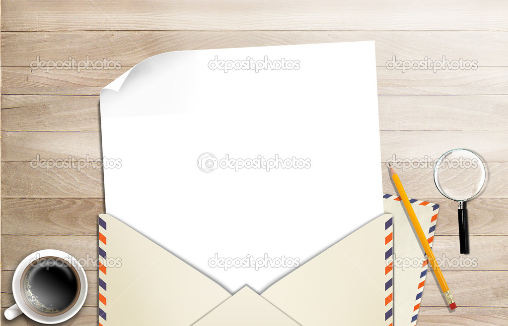 Illustration of envelope and paper on table — Stock Photo #8757768