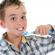 Beautiful little boy cleans your teeth — Stock Photo #10460669